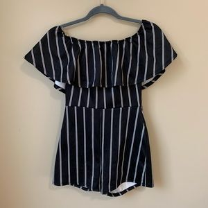 Windsor Black and White Striped Romper